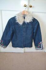 Ladybird Girls Quilted Denim Faux Fur trim Biker style Embroidered Jacket 8-9yrs