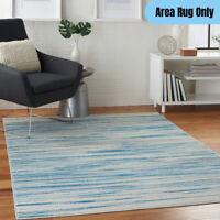 5 x 7 feet Modern Indoor Area Rug Striped Blue Pattern Coastal Beach Home Decor