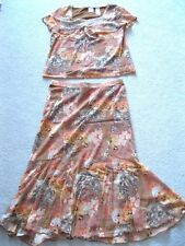 NEW Women's 2 pc Set Rust Brown Print Lace Sequins S/S Top & Matching Skirt PL&M