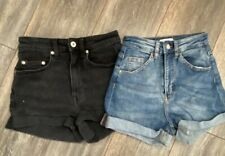 H&m Ladies Teens 2 Pairs Denim Blue And Black Highwaist Shorts Size 4