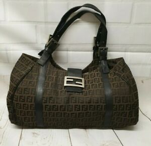 Authentic Vintage Fendi Baguette Zucchino Monogram tote Shoulder Bag. Handbag