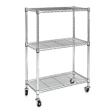 Heavy Duty Chrome 3 Tier Wire Shelving Rack Cart Unit w/Casters Shelf Wheels