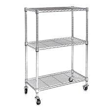 Heavy Duty Chrome 3 Tier Wire Shelving Rack Cart Unit with Casters Shelf Wheels