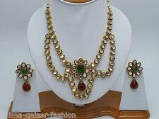 INDIAN KUNDAN COSTUME JEWELLERY SET MULTI STONES GOLD PLATED NEW - AQ/217