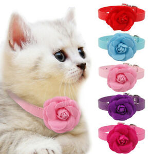 Big Flower Studded Dog Collars PU Leather for Girly Dogs Pet Puppy Cat Necklace