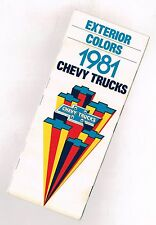 1981 Chevy TRUCK's COLOR CHART Chip Paint Sample Brochure: LUV,PickUp,El Camino,