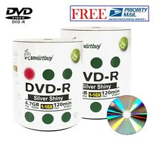 200 Pack Smartbuy DVD-R 16X 4.7GB 120Min Shiny Silver Top Blank Recordable Disc