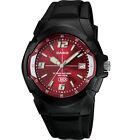 Casio MW600F-4AV, Men's Watch, Black Resin, Red Dial, Date, 10 Year Battery