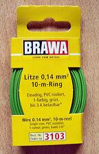 Brawa 3103 Kabel Litze grün 10 m Ring 0,14 mm² Neu & OVP