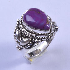 925 Sterling Silver Ring US Size7, Natural Purple Copper Turquoise Jewelry R1863