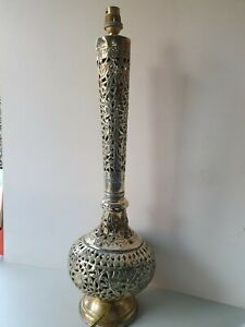 Vintage  Large Brass Filigree  table lamp passion flower design working