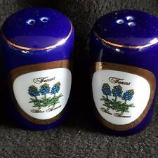 Salt & Pepper Shakers Set Texas Blue Bonnet White Blue Tourist Souvenir