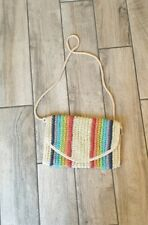 Topshop Multi Stripped Straw Holiday Crossbody Bag