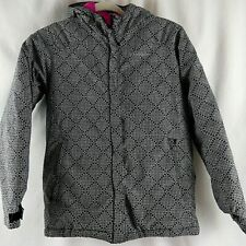 Columbia Winter Jacket with Hood Girls Large 14/16 Black and White
