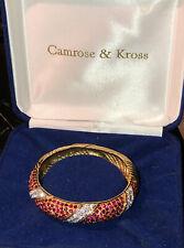 Camrose & Kross Jackie Kennedy JBK Red Rhinestone Hinged Bangle Bracelet