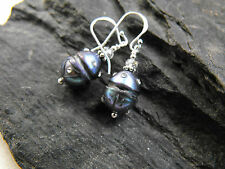 925 sterling silver carved BLACK PEARL EARRINGS faceted cubic zirconia