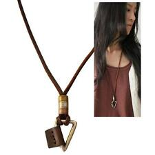 METAL TRIANGLE NECKLACE Adjustable Leather Men Women Geometric Tribal Pendant