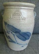 Collectible 1983 Handmade Rowe Pottery Open Crock  Blue Bird Design