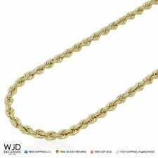 """10K Yellow Gold 4mm Rope Link Chain Necklace 32"""""""