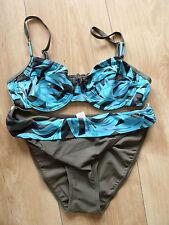 BNWT Naturana Bikini Size 10/32 EU 38 Khaki/Blue Foliage Pattern Halter Neck