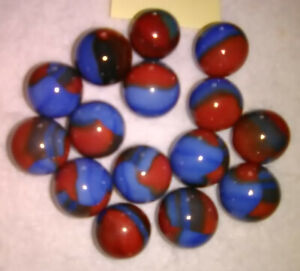 Marble King 15 5/8 Marbles SPIDER MAN Blue And Red Nice