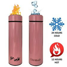 Insulated Travel Mug Stainless Steel Coffee Thermos Leak Proof Water Bottle Pink