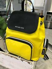 Michael Kors Abbey Medium Cargo Backpack Bag in Bright Yellow Nylon Leather