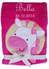Babydecke pink Giraffe mit Namen bestickt Baby Decke Taufe Geburt Geschenk Name