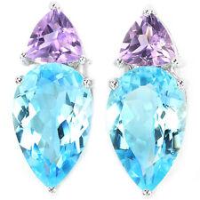 Sterling Silver 925 Genuine Natural Purple Amethyst & Sky Blue Topaz Earrings
