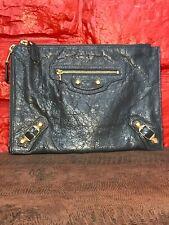 Balenciaga Paris Motocross Flat Clutch Handbag Grey Gray Leather Gold B1