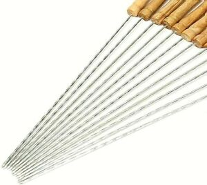 Barbecue Skewers Wood Handle Marshmallow Roasting Sticks Meat Hot Dog Fork 12pcs
