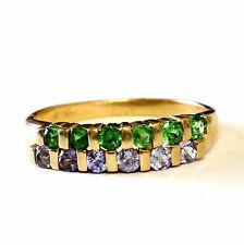 14k yellow gold womens tanzanite chrome diopside ladies gemstone band ring 3.1g