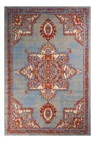 Distressed Bohemian 2'x4', Light Blue, Transitional Moroccan Oriental Rug - 512
