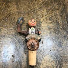 Vintage Anri Carved Wood Cork Bottle Stopper <> Mechanical Man Puppet