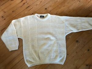 Stefanel Made in Italy Strickpullover Cardigan M 48 weiß Wolle Norweger