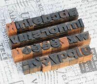a-z Alphabet Holzbuchstaben 18 mm Lettern Holzlettern Vintage shabby wood type..