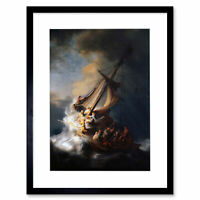 Rembrandt Christ In Storm On Lake Galilee Old Framed Art Print 12x16 Inch