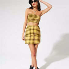 Women Dress 2 Piece Bandeau Crop Top Bodycon Skirt Co Ord Set Holiday Party Mini