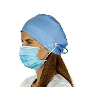 Light Blue Surgical Cap Women with Buttons I Nurse Cap I Scrub Cap