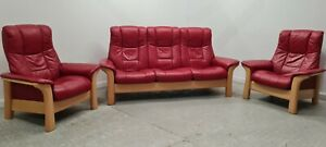 Ekornes stressless Red Leather 3 seater recliner & 2 x recliner chairs 220921