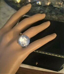 Avon MOON SHIMMER RING ROUND BLUE MOONSTONE SILVER CLEAR RHINESTONE RING SIZE.8