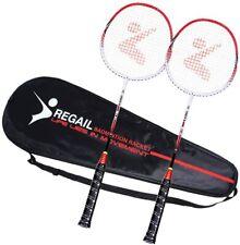 Regail 2 Badminton Rackets Carrying Bag Overgrip Lightweight Racquet Sports
