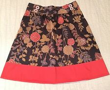 DEMA Women's Size Small A-Line SKIRT Brown Floral Red Orange Trim *WITH POCKETS*