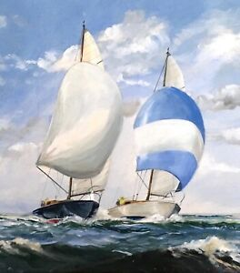 PEARS (1929-1985) Stunning Nautical Original Painting Racing Yachts Chichester