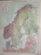 1940 MAP ~ SCANDINAVIA & BALTIC LANDS DENMARK SWEDEN NORWAY LITHUANIA ESTONIA