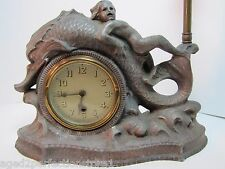 Antique Merman Dauphin Koi Fish Waves Decorative Figural Lamp Clock Art Statue