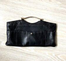 sac à main en véritable cuir noir la Bagagerie très bon état pochette