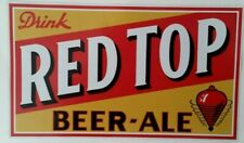 """""""RED TOP BEER ALE"""" DECAL / STICKER USA LAGER BREWERIANA ADVERT POSTER PUB"""