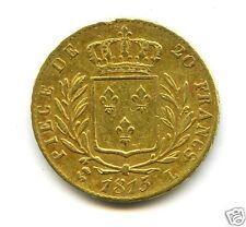 LOUIS XVIII (1814-1824) 20 FRANCS OR GOLD 1815 L BAYONNE 5 SUR 4