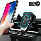US 10W Qi Wireless Charger 2in1 Car Gravity Bracket For iPhone 12 11 Samsung S20